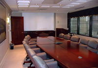 "This boardroom has 6"" wood crown and baseboards.
